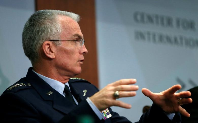 FILE PHOTO: Vice Chairman of the Joint Chiefs of Staff U.S. Air Force General Paul Selva speaks at the Center for Strategic and International Studies in Washington, U.S., October 28, 2016. REUTERS/Gary Cameron