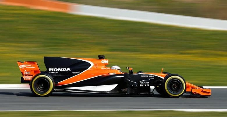 Formula One - F1 - Test session - Barcelona-Catalunya racetrack in Montmelo, Spain - 1/3/17. McLaren's Fernando Alonso in action. REUTERS/Albert Gea