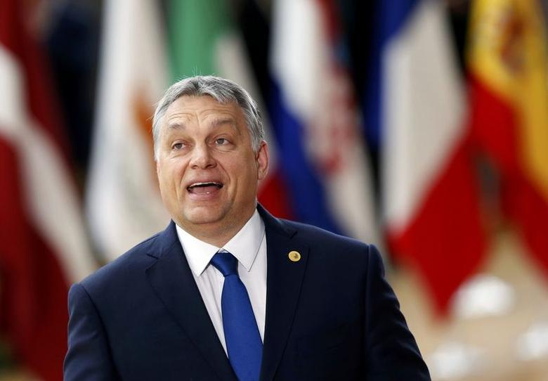 Hungarian Prime Minister Viktor Orban arrives at the EU summit in Brussels, Belgium, March 9, 2017.    REUTERS/Francois Lenoir