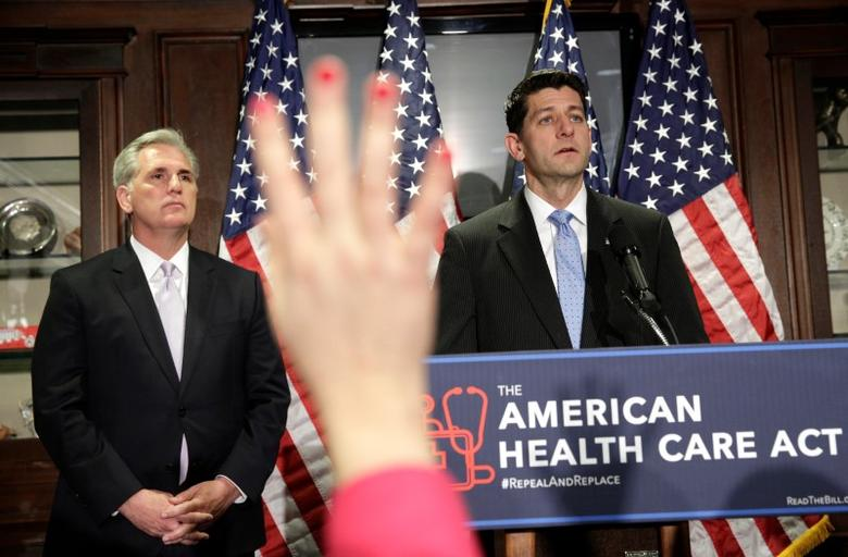 Speaker of the House Paul Ryan (R-WI) and House Majority Leader Kevin McCarthy (R-CA)  answer questions about the American Health Care Act, the Republican replacement to Obamacare, at the Republican National Committee in Washington, U.S., March 8, 2017.      REUTERS/Joshua Roberts - RTS11ZMA