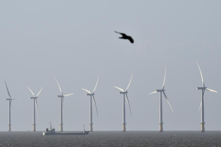 A cargo ship passes in front of an off-shore wind farm in the English Channel near Clacton-on-Sea in south east England August 29, 2014.  REUTERS/Toby Melville