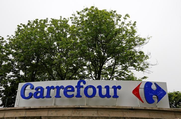 The logo of France-based food retailer Carrefour is seen in Paris, France, June 2, 2016. REUTERS/Jacky Naegelen