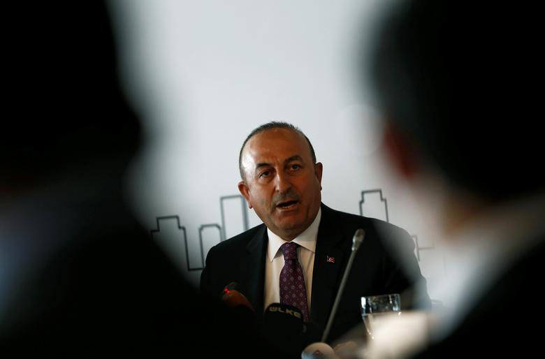 FILE PHOTO : Turkish Foreign Minister Mevlut Cavusoglu speaks during a meeting in Istanbul, Turkey March 7, 2017. REUTERS/Murad Sezer