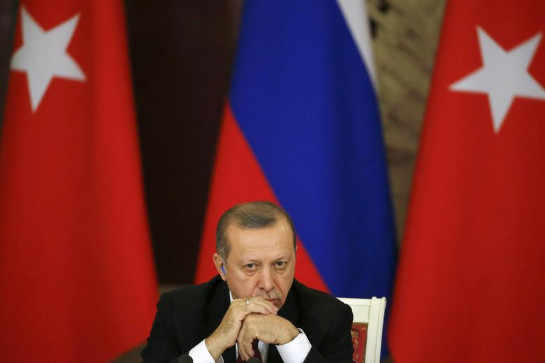 Turkish President Tayyip Erdogan attends a news conference after the talks with his Russian counterpart Vladimir Putin at the Kremlin in Moscow, Russia, March 10, 2017. REUTERS/Sergei Ilnitsky/Pool