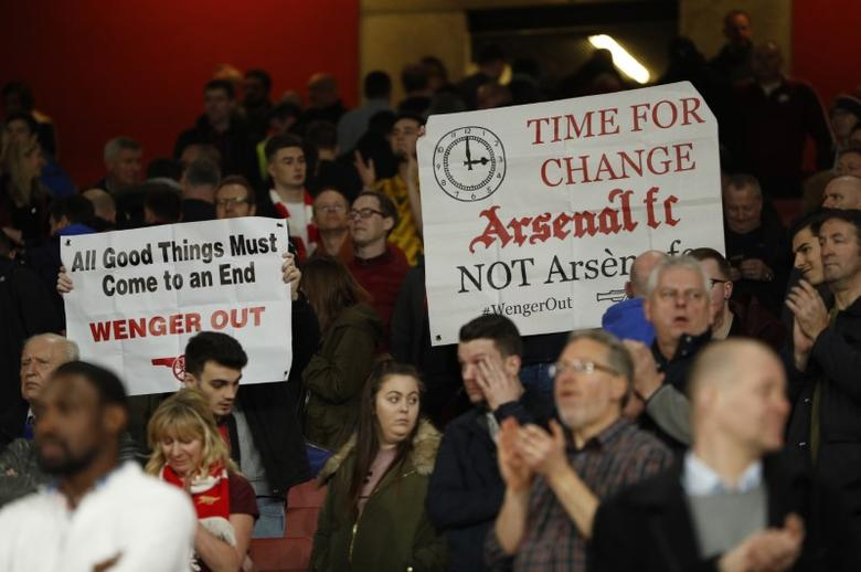 Britain Football Soccer - Arsenal v Lincoln City - FA Cup Quarter Final - The Emirates Stadium - 11/3/17 Arsenal fans protest against manager Arsene Wenger after the match Action Images via Reuters / John Sibley Livepic