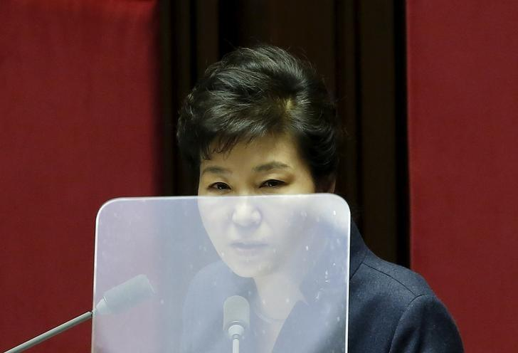 FILE PHOTO: South Korean President Park Geun-hye delivers her speech during a plenary session at the National Assembly in Seoul, South Korea, February 16, 2016.  REUTERS/Kim Hong-Ji/File Photo