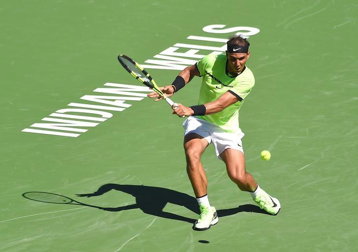 Mar 12, 2017; Indian Wells, CA, USA; Rafael Nadal (ESP) during his 2nd round match as he defeated Guido Pella (not pictured) in the BNP Paribas Open at the Indian Wells Tennis Garden. Nadal won 6-3, 6-2. Mandatory Credit: Jayne Kamin-Oncea-USA TODAY Sports