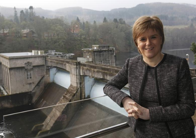 Scotland's First Minister Nicola Sturgeon poses for a photograph at SSE's new Pitlochry Dam Visitor Centre, in Pitlochry, Scotland, Britain, February 6, 2017. REUTERS/Russell Cheyne/Files