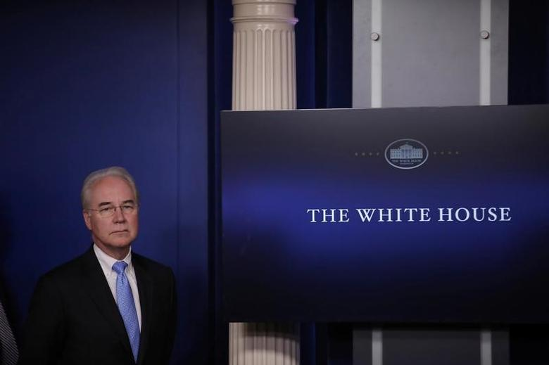 U.S. Health and Human Services Secretary Tom Price stands by before addressing the daily press briefing at the White House in Washington, U.S., March 7, 2017. REUTERS/Carlos Barria