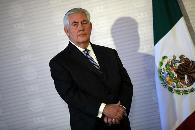 U.S. Secretary of State Rex Tillerson stands next to a Mexican flag during a join statement with Mexico's Foreign Secretary Luis Videgaray at the Ministry of Foreign Affairs in Mexico City, Mexico on February 23, 2017. REUTERS/Carlos Barria/Files