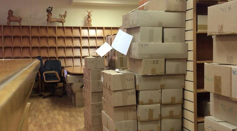 A still image taken from video footage shows empty shelves and cardboard boxes with books at the Library of Ukrainian Literature in Moscow, Russia, March 9, 2017. Video footage taken March 9, 2017. REUTERS/Nikolai Isayev