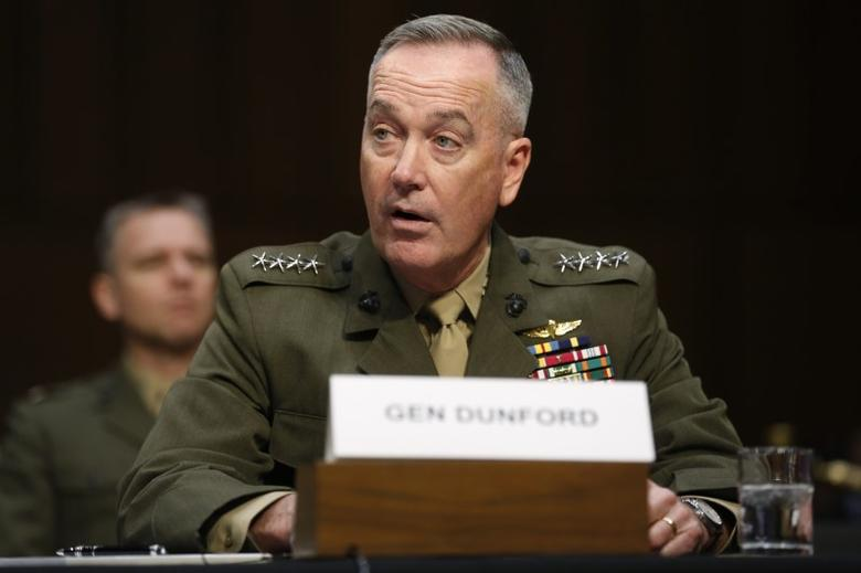 Joint Chiefs Chairman U.S. Marine General Joseph Dunford testifies on operations against the Islamic State, on Capitol Hill in Washington, U.S., April 28, 2016. REUTERS/Jonathan Ernst