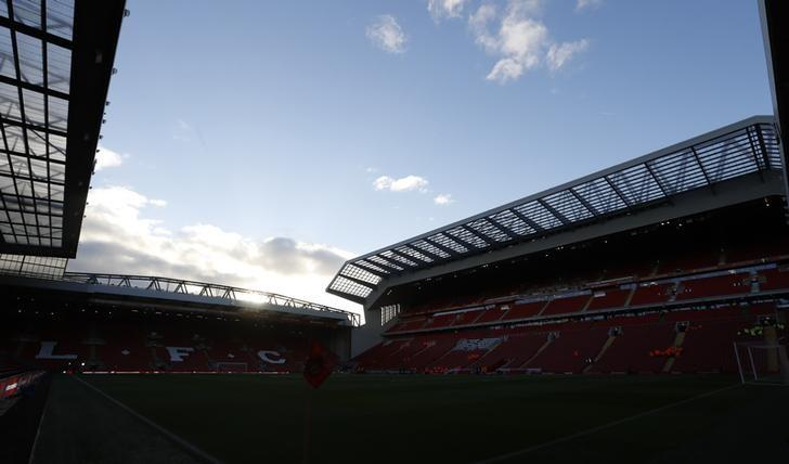 Britain Football Soccer - Liverpool v Manchester United - Premier League - Anfield - 16/17 - 17/10/16General view of the stadium before the matchAction Images via Reuters / Carl Recine/FilesEDITORIAL USE ONLY. No use with unauthorized audio, video, data, fixture lists, club/league logos or ''live'' services. Online in-match use limited to 45 images, no video emulation. No use in betting, games or single club/league/player publications. Please contact your account representative for further details.