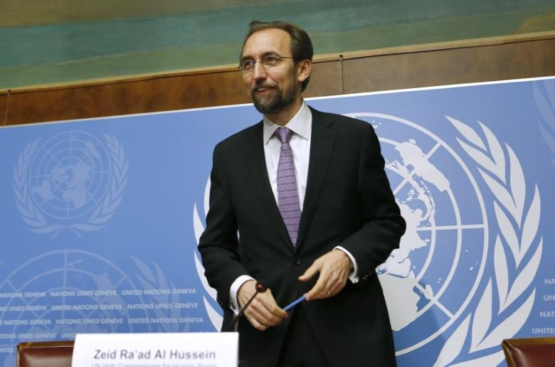 File photo: Jordan's Prince Zeid Ra'ad Zeid al-Hussein, U.N. High Commissioner for Human Rights gestures after a news conference at the United Nations European headquarters in Geneva October 16, 2014.   REUTERS/Denis Balibouse
