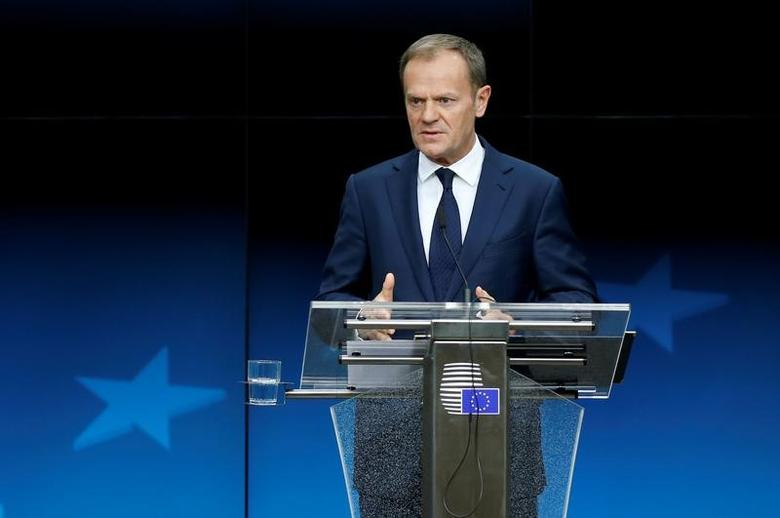 European Council President Donald Tusk addresses a news conference during a European Union leaders summit in Brussels, Belgium March 10, 2017. REUTERS/Francois Lenoir