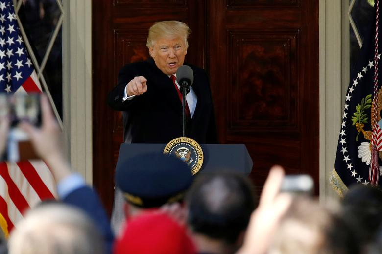 U.S. President Donald Trump delivers remarks at the Hermitage, the historic home of 19th-century U.S. President Andrew Jackson, on the occasion of the 250th anniversary of Jackson's birth, in Nashville, Tennessee, U.S. March 15, 2017. REUTERS/Jonathan Ernst