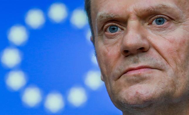 3月15日、欧州連合(EU)首脳は、EU加盟国であるドイツとオランダをファシズムと非難したトルコを強く批判し、トルコのEU加盟への道は遠のいたと語った。写真はトゥスクEU大統領。ブリュッセルで9日撮影(2017年 ロイター/Yves Herman)