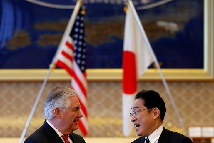 U.S. Secretary of State Rex Tillerson (L) meets with Japan's Foreign Minister Fumio Kishida before their meeting at the foreign ministry's Iikura guest house in Tokyo, Japan, March 16, 2017.   REUTERS/Toru Hanai
