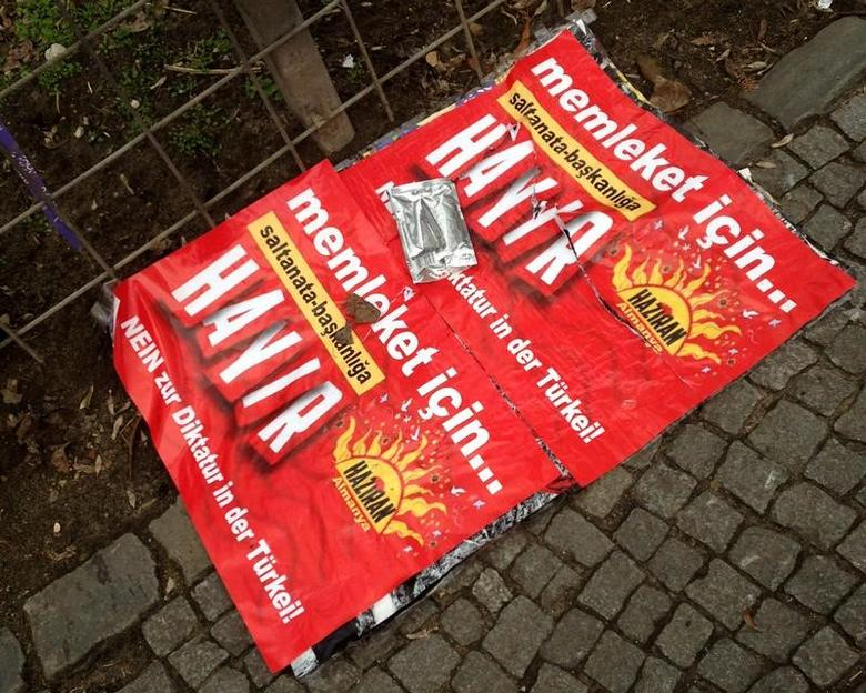 A ''Hayir'' campaign poster against the referendum in Turkey on the pavement in Berlin March 13, 2017. Picture taken March 13, 2017.       REUTERS/Stefanie Eimermacher