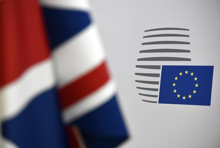 Britain's Union flag and a European logo on display ahead of the EU summit in Brussels, Belgium, March 9, 2017.    REUTERS/Dylan Martinez