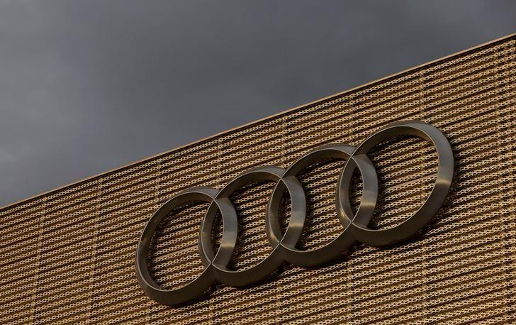 The logo of German car manufacturer Audi is seen at a building of a car dealer in Duebendorf, Switzerland November 22, 2016.    REUTERS/Arnd Wiegmann/Files