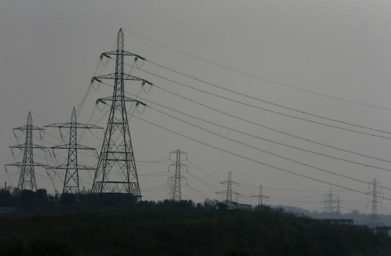Electricity pylons fill the landscape at Ebbsfleet in Kent, southern England March 27, 2014.  REUTERS/Stefan Wermuth