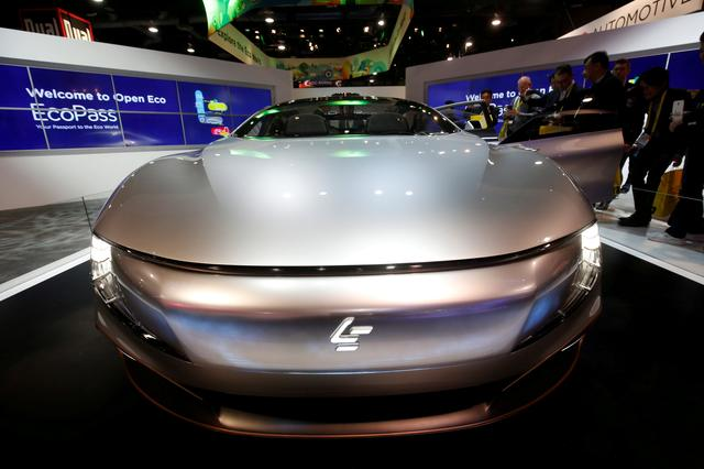FILE PHOTO: The LeSee Pro electric concept vehicle by LeEco is displayed during the 2017 CES in Las Vegas, Nevada January 5, 2017. REUTERS/Steve Marcus/File Photoste