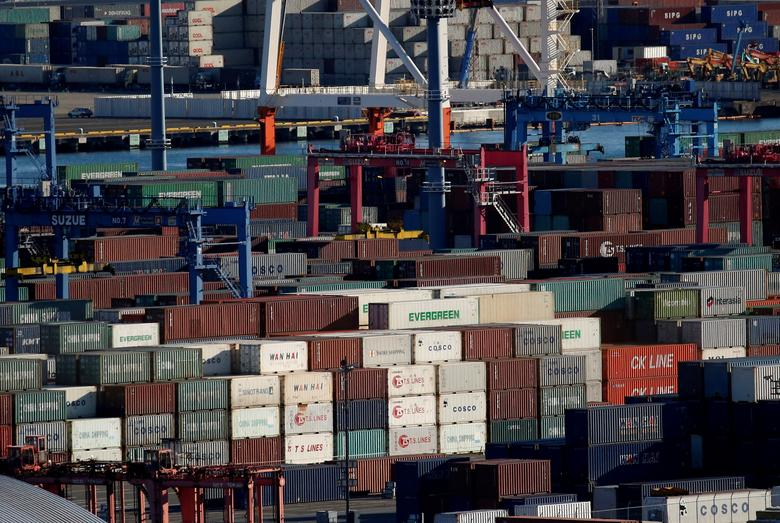FILE PHOTO - Containers are seen at an industrial port in Yokohama, Japan, January 16, 2017.     REUTERS/Kim Kyung-Hoon/File Photo