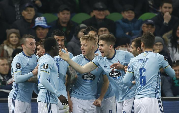 Football Soccer - FC Krasnodar v Celta Vigo - UEFA Europa League Round of 16 Second Leg - Krasnodar Stadium, Krasnodar, Russia - 16/03/17. Celta Vigo's Mallo celebrates with his team mates after scoring a goal.   REUTERS/Maxim Shemetov