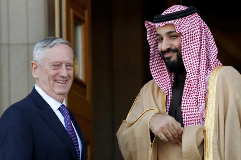 U.S. Defense Secretary James Mattis (L) welcomes Saudi Arabia's Deputy Crown Prince and Minister of Defense Mohammed bin Salman at the Pentagon in Washington, U.S., March 16, 2017. REUTERS/Yuri Gripas