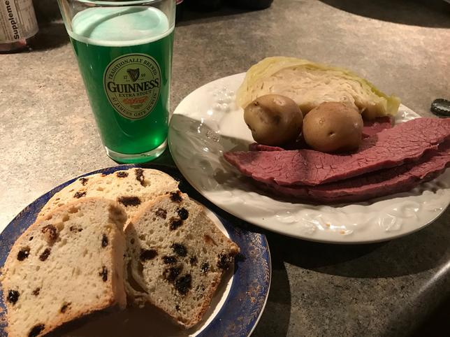 Traditional Irish-American meal of corned beef and cabbage is seen in this photo illustration taken in Roselle, Illinois, U.S. on March 11, 2017.   REUTERS/Theopolis Waters