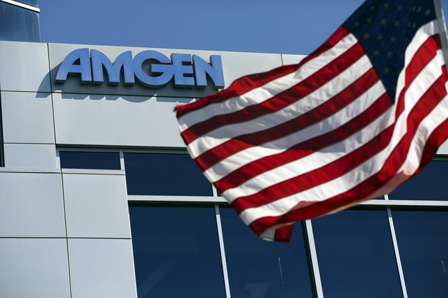 FILE PHOTO - An Amgen sign is seen at the company's office in South San Francisco, California, U.S. on October 21, 2013.  REUTERS/Robert Galbraith/File Photo