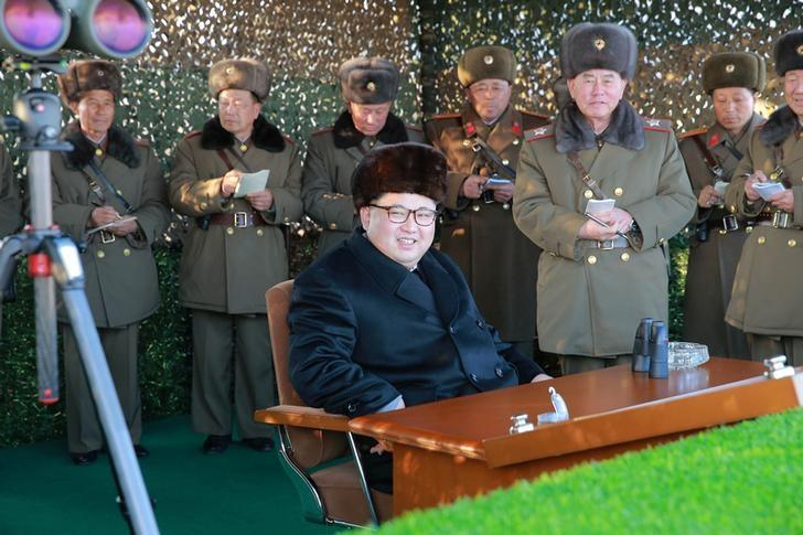 North Korean leader Kim Jong Un guides a firing contest among multiple launch rocket system (MLRS) batteries selected from large combined units of the KPA, in this undated photo released by North Korea's Korean Central News Agency (KCNA) in Pyongyang on December 21, 2016. KCNA/via Reuters   ATTENTION EDITORS - THIS PICTURE WAS PROVIDED BY A THIRD PARTY. REUTERS IS UNABLE TO INDEPENDENTLY VERIFY THE AUTHENTICITY, CONTENT, LOCATION OR DATE OF THIS IMAGE. FOR EDITORIAL USE ONLY. NO THIRD PARTY SALES. SOUTH KOREA OUT. THIS PICTURE IS DISTRIBUTED EXACTLY AS RECEIVED BY REUTERS, AS A SERVICE TO CLIENTS.