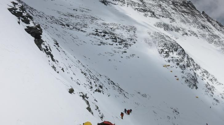 Climbers walk towards camp four from camp three at Everest, in this picture taken on May 19, 2016. Phurba Tenjing Sherpa/Handout via REUTERS