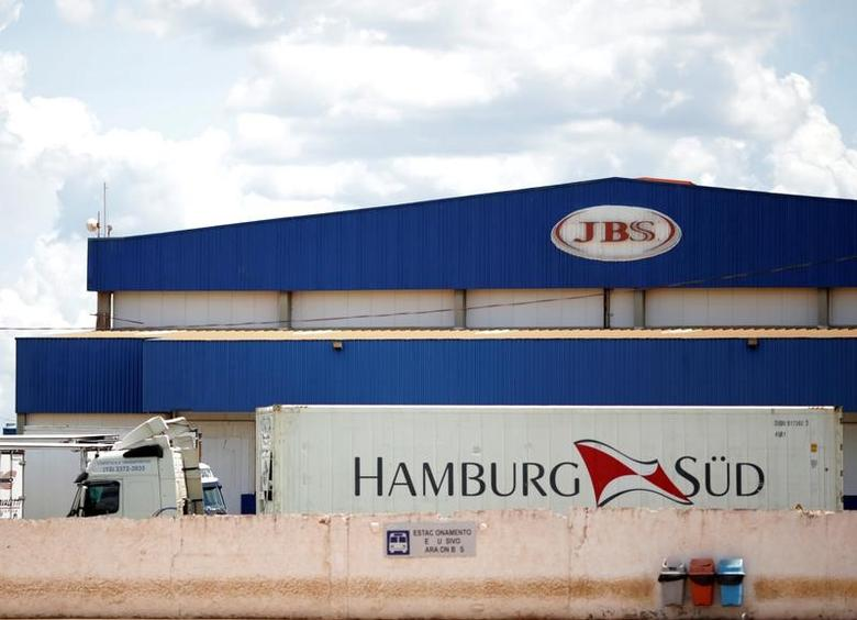 A truck is pictured at the Brazilian meatpacker JBS SA after a Brazil's Federal Police operation in Brasilia, Brazil March 17, 2017. REUTERS/Ueslei Marcelino