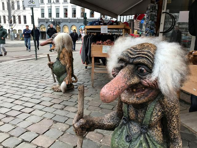 Traditional troll figures are pictured outside a shop in Oslo, Norway March 20, 2017. REUTERS/Lefteris Karagiannopoulos