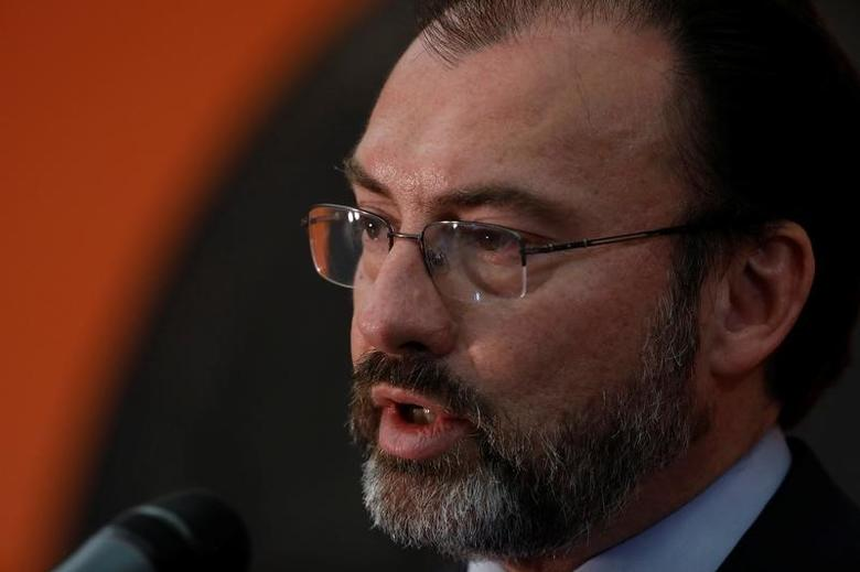 Mexican Foreign Minister Luis Videgaray speaks at a news conference at the Mexican Embassy in Washington March 9, 2017. REUTERS/Aaron P. Bernstein