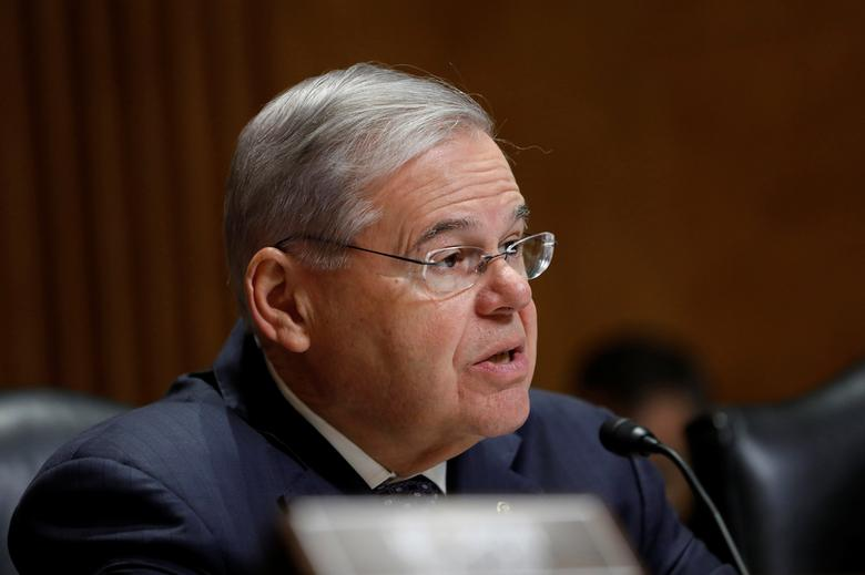 FILE PHOTO: Sen. Robert Menendez (D-NJ) speaks during a Senate Foreign Relations hearing on Capitol Hill in Washington, D.C., U.S. March 15, 2017.  REUTERS/Aaron P. Bernstein