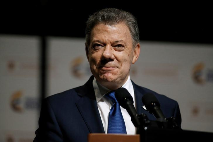 Colombia's President Juan Manuel Santos speaks at an event where Colombia's Vice President German Vargas Lleras presented his office's annual report in Bogota, Colombia, March 14, 2017. REUTERS/Jaime Saldarriaga