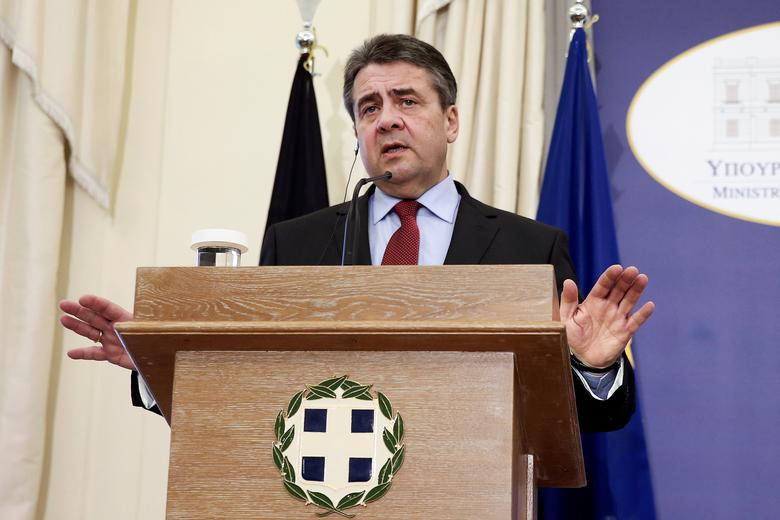 German Foreign Minister Sigmar Gabriel speaks during a news conference with his Greek counterpart Nikos Kotzias (not pictured) following their meeting at the ministry in Athens, Greece, March 23, 2017. REUTERS/Alkis Konstantinidis