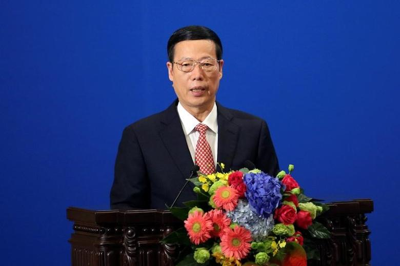 Chinese Vice-Premier Zhang Gaoli makes a speech during the Philippines - China Trade and Investment Forum at the Great Hall of the People in Beijing, China, October 20, 2016. REUTERS/ Wu Hong/ Pool/Files