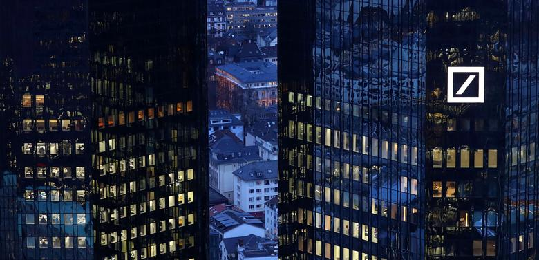 FILE PHOTO: The headquarters of Germany's Deutsche Bank are seen early evening in Frankfurt, Germany January 31, 2017. REUTERS/Kai Pfaffenbach/File Photo