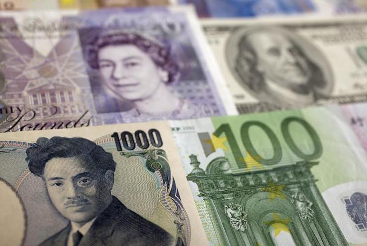 资料图片:2011年1月,波兰华沙,叠放的美元、人民币、欧元、英镑和日圆等币种。REUTERS/Kacper Pempel