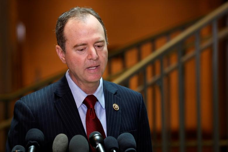U.S. House Permanent Select Committee on Intelligence ranking member Representative Adam Schiff (D-CA) speaks with reporters at the U.S. Capitol in Washington, U.S., March 24, 2017.  REUTERS/Jonathan Ernst