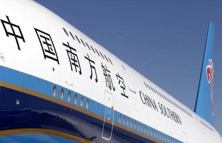 View of the first Airbus A380 delivered to China Southern Airlines during a ceremony at the Airbus Delivery Center in Colomiers near Toulouse October 14, 2011.      REUTERS/Jean-Philippe Arles