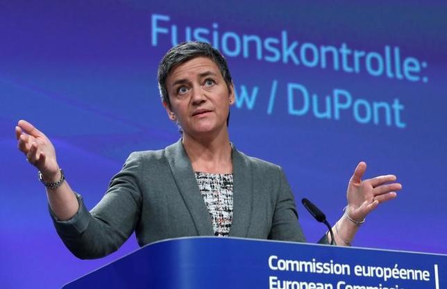 3月28日、欧州連合の欧州委員会は、競争政策を担当するベステアー委員(写真)が29日に記者会見すると発表した。ロンドン証券取引所グループ(LSE)とドイツ取引所の合併計画を正式に却下するとみられる。27日ブリュッセルで撮影(2017年 ロイター/Yves Herman)