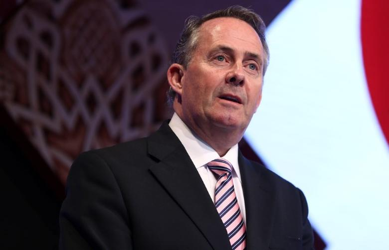 Britain's Secretary of State for International Trade Liam Fox  speaks at the Qatar UK Business and Investment Forum in London, Britain March 27, 2017 REUTERS/Neil Hall
