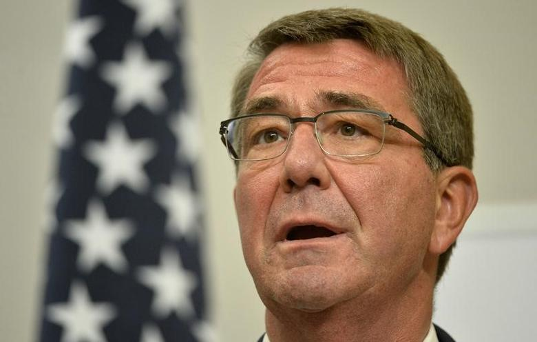 FILE PHOTO - Then U.S. Secretary of Defence Ash Carter attends a press conference with Britain's Defence Secretary Michael Fallon at the Foreign Office in London, December 15, 2016. REUTERS/Hannah McKay