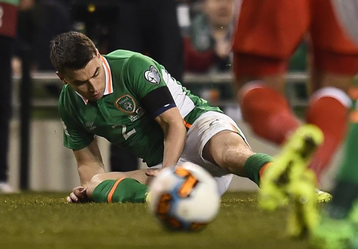 Football Soccer - Republic of Ireland v Wales - 2018 World Cup Qualifying European Zone - Group D - Aviva Stadium, Dublin, Republic of Ireland - 24/3/17 Republic of Ireland's Seamus Coleman lies injured Reuters / Clodagh Kilcoyne Livepic