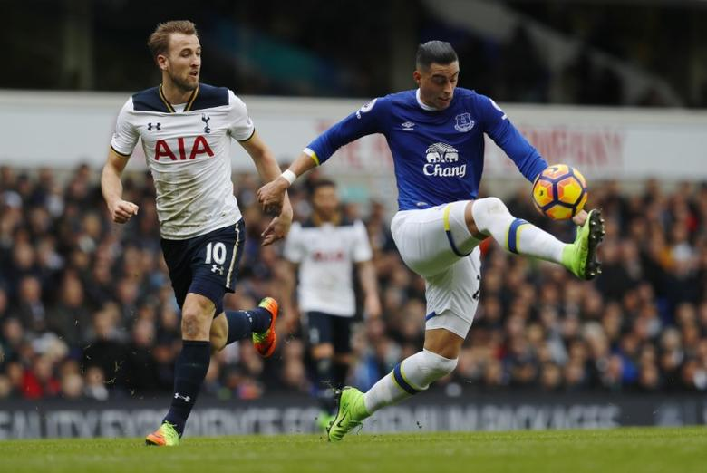 Tottenham Hotspur v Everton - Premier League - White Hart Lane - 5/3/17 Everton's Ramiro Funes Mori in action with Tottenham's Harry Kane  Reuters / Eddie Keogh Livepic